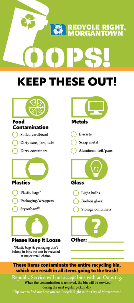 """A graphic showing an """"Oops"""" tag which will be placed on contaminated curbside recycling bins."""